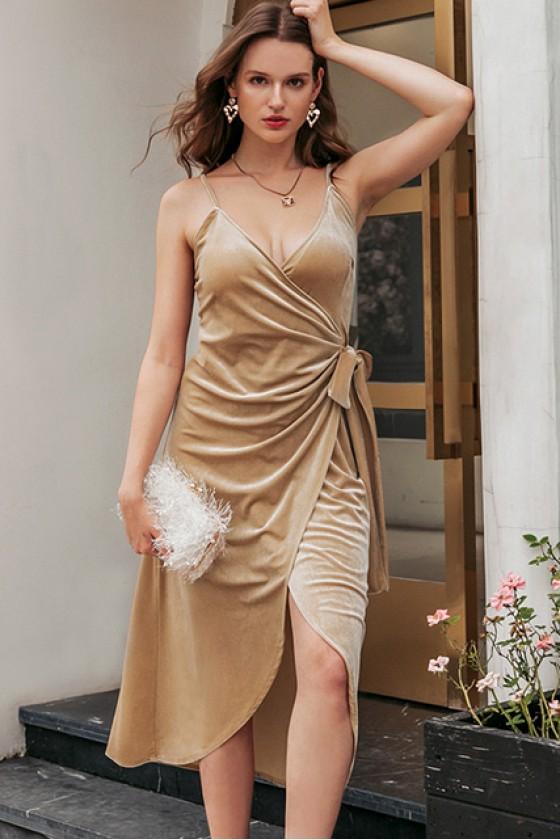 Xia Spaghetti Strap Wrap Dress