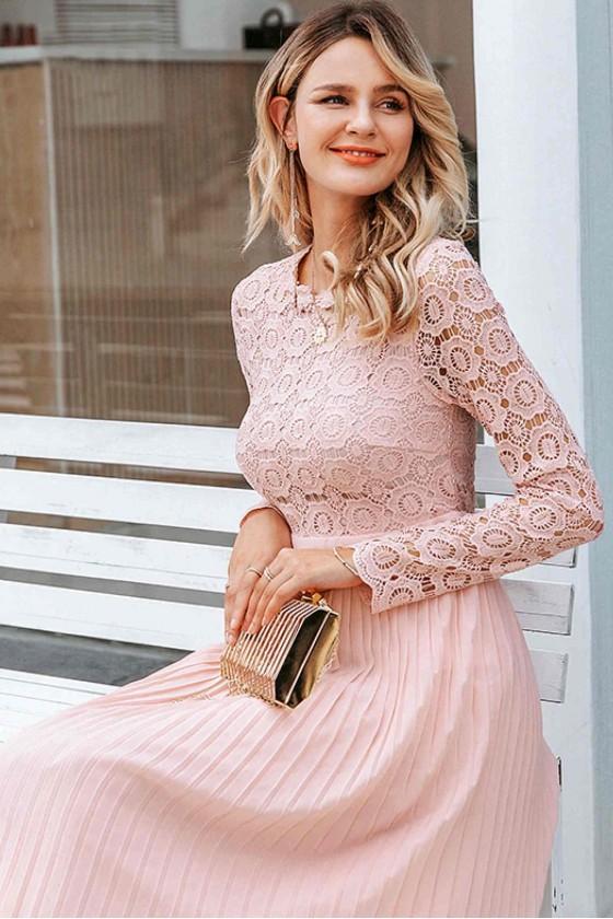 Desi Crochet Lace Dress in Pink