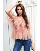 Lulu Mesh Ruffle Top in Pink