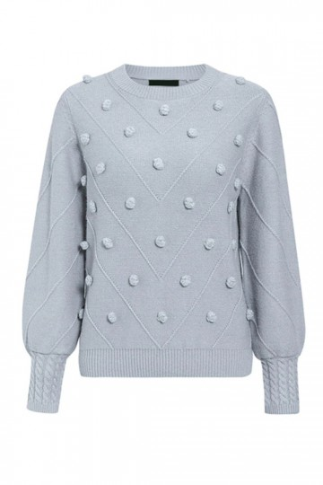 Gala Pom-Pom Sweater in Grey