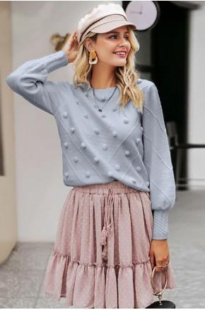 Gala Pom-Pom Sweater in Grey