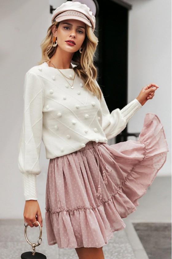 Gala Pom-Pom Sweater in White