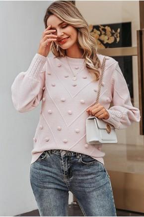 Gala Pom-Pom Sweater in Pink