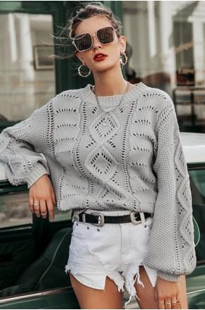Danika Grey Knit Pullover