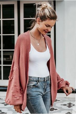 Acne Wide Sleeves Pink Cardigan