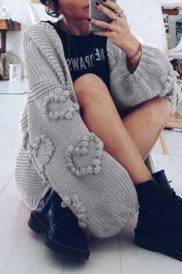 Acne Wide Sleeves Grey Cardigan