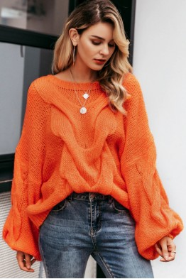 Aya Oversized Pullover in Orange
