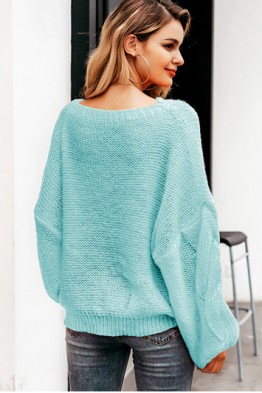 Aya Oversized Pullover in Sky Blue