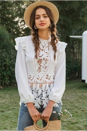 Bree Ruffle Sleeve Lace Blouse
