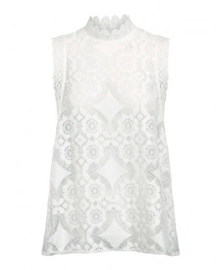 White Sleeveless Embroidered Lace Top