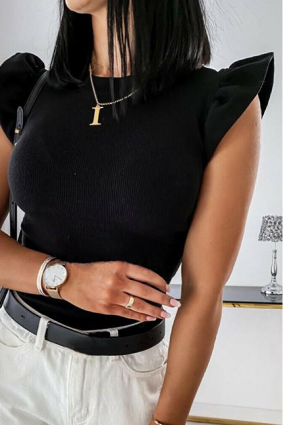Eden Ruffle-Sleeve Top in Black