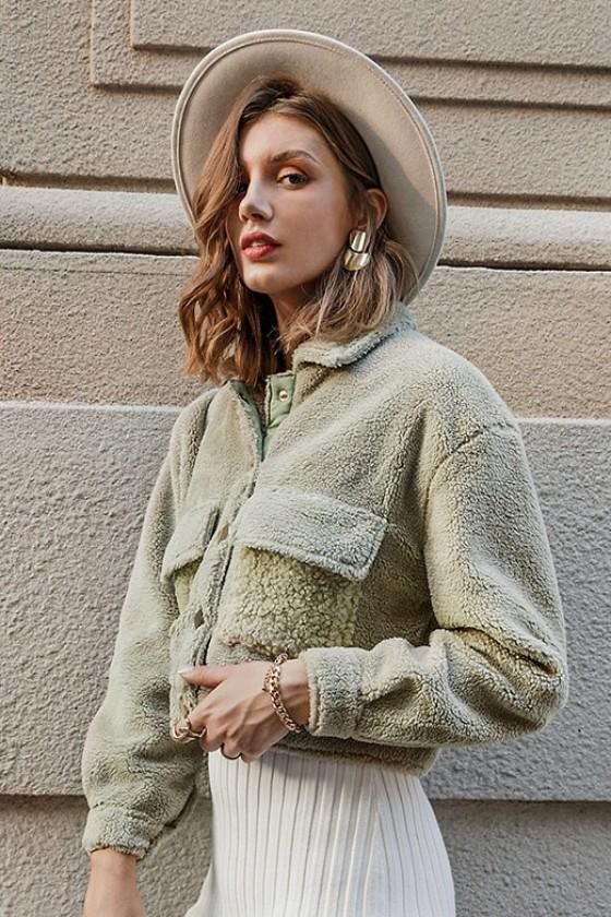 Teddy Faux Fur Crop Jacket