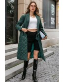 Anne Quilted Long Coat in Green