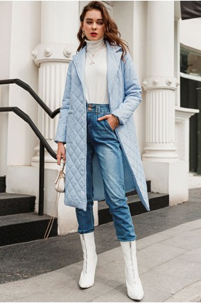 Anne Quilted Long Coat in Blue