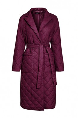 Anne Quilted Long Coat in Burgundy