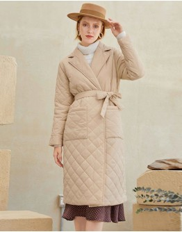 Anne Quilted Long Coat in Khaki