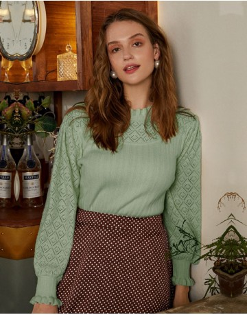 Ebelina Basic Pullover in Green