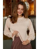 Ebelina Basic Pullover in Apricot