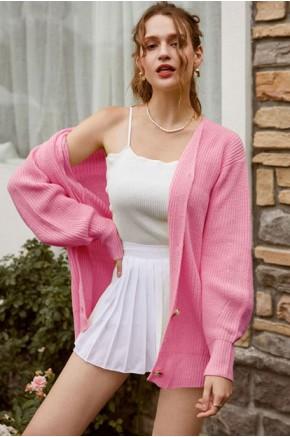 Fleur Button Front Pink Cardigan