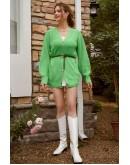 Fleur Button Front Green Cardigan