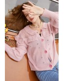 Hedy Button Cardigan in Pink