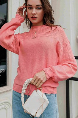 Alexa Loose-Fit Sweater in Peach