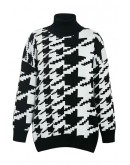 Venus Houndstooth Turtleneck Sweater