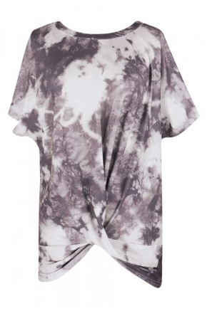 Tie Dye Twisted Top in Grey