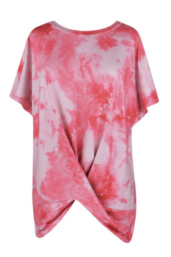 Tie Dye Twisted Top in Red
