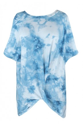 Tie Dye Twisted Top in Light Blue