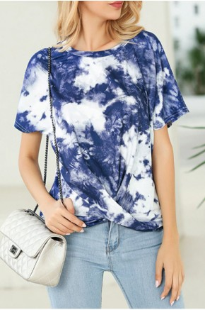 Tie Dye Twisted Top in Navy Blue