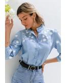 Denise Floral Blue Shirt