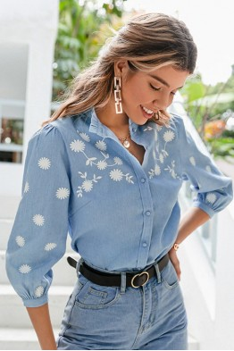 Denise Floral Blue Shirt