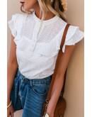 Eirny Flutter Sleeve White Blouse