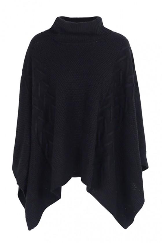 Lauren Knit Poncho in Black