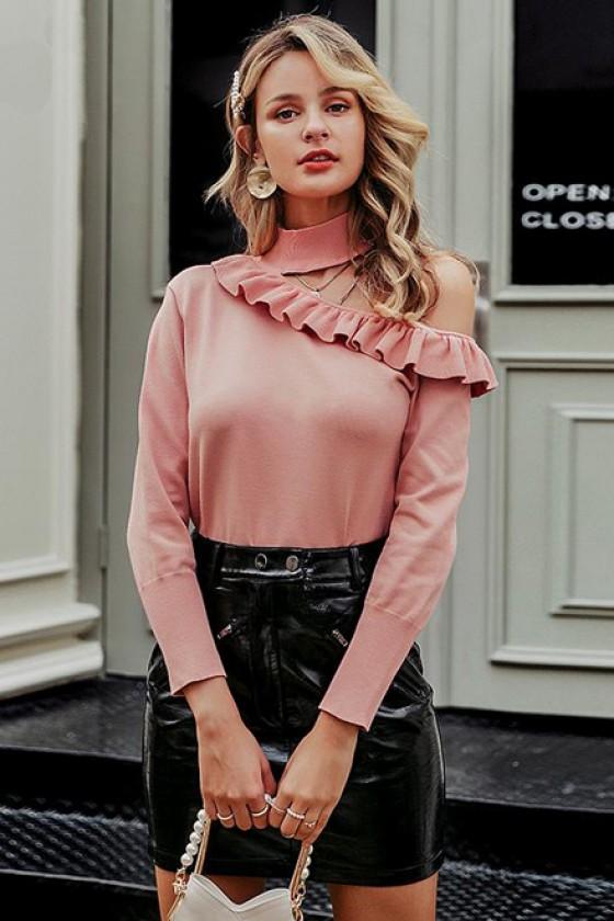 Yente Cold-Shoulder Pink Jumper