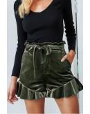 Erica Velvet Shorts in Green