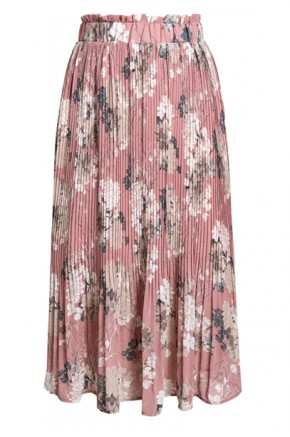 Wera Pleated Floral Skirt in Pink