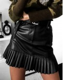 Bellini Pleated Hem Skirt in Black