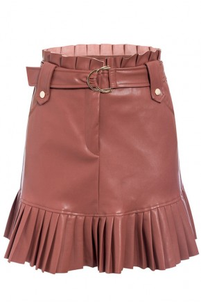 Bellini Pleated Hem Skirt in Brown