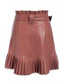 Bellini Pleated Hem Skirt in Brown