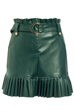 Bellini Pleated Hem Skirt in Deep Green