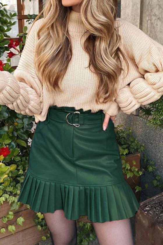 Bellini Pleated Hem Skirt in Deep Green