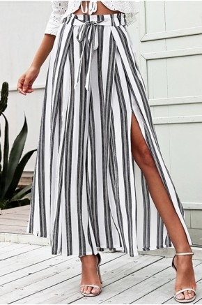 Emi Wide Leg Wrap Pants in White