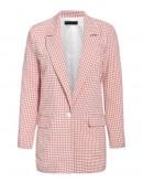 Nikki Pink Suit Pants in Plaid Pattern