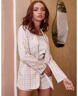 Zia Patterned Blazer Shorts Co-ord
